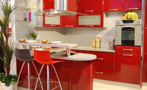 Apetyczna kuchnia w czerwieni for Red kitchen designs photo gallery